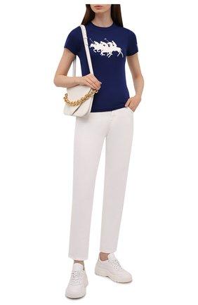 Женская хлопковая футболка POLO RALPH LAUREN синего цвета, арт. 211839186 | Фото 2 (Рукава: Короткие; Материал внешний: Хлопок; Длина (для топов): Стандартные; Принт: С принтом; Стили: Спорт-шик)