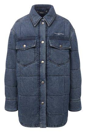 Женская хлопковая куртка STELLA MCCARTNEY синего цвета, арт. 603988/S0H54 | Фото 1 (Рукава: Длинные; Длина (верхняя одежда): До середины бедра; Материал подклада: Синтетический материал; Материал внешний: Хлопок; Кросс-КТ: Куртка, Деним; Стили: Гранж)