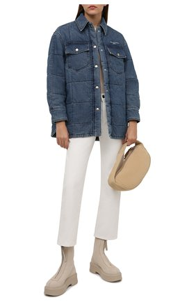Женская хлопковая куртка STELLA MCCARTNEY синего цвета, арт. 603988/S0H54 | Фото 2 (Рукава: Длинные; Длина (верхняя одежда): До середины бедра; Материал подклада: Синтетический материал; Материал внешний: Хлопок; Кросс-КТ: Куртка, Деним; Стили: Гранж)