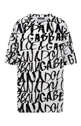 Женская хлопковая футболка DOLCE & GABBANA черно-белого цвета, арт. F8015T/G7A5G | Фото 1 (Материал внешний: Хлопок; Рукава: Короткие; Длина (для топов): Удлиненные; Принт: С принтом; Стили: Спорт-шик)
