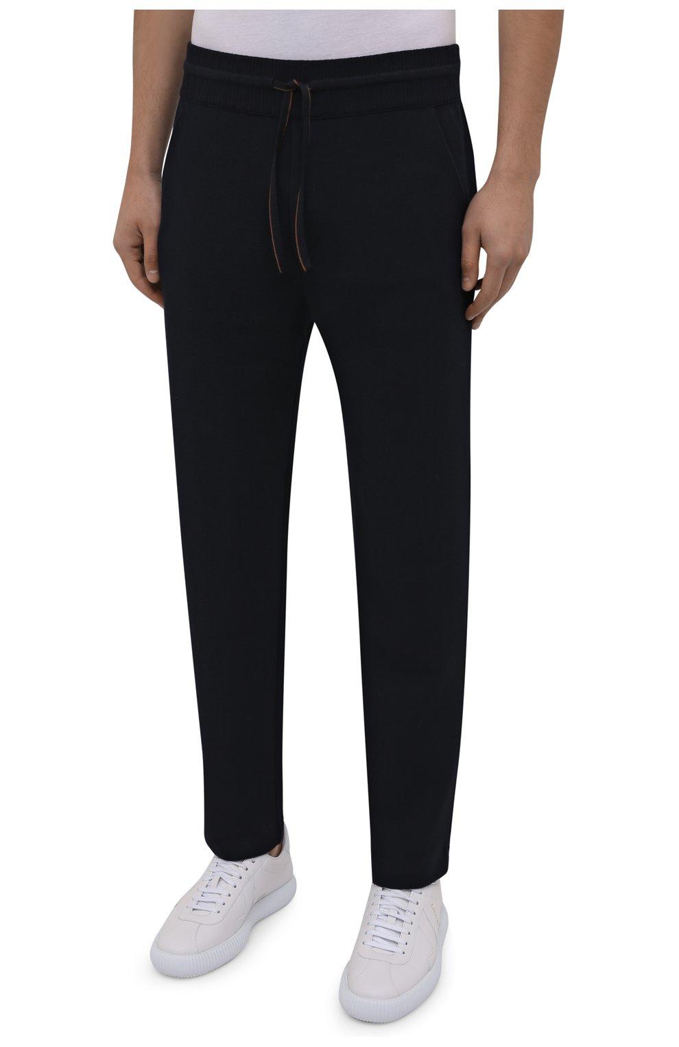 Мужские шерстяные брюки LORO PIANA темно-синего цвета, арт. FAL5416 | Фото 3 (Материал внешний: Шерсть; Длина (брюки, джинсы): Стандартные; Случай: Повседневный; Стили: Кэжуэл)