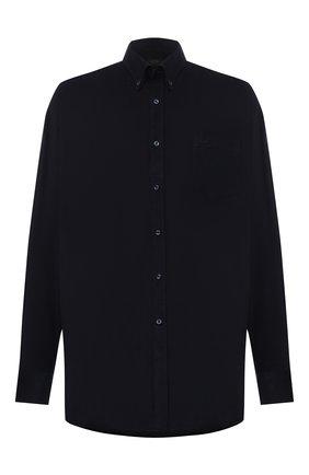 Мужская хлопковая рубашка PAUL&SHARK темно-синего цвета, арт. 11313177/C00 | Фото 1 (Рукава: Длинные; Материал внешний: Хлопок; Длина (для топов): Удлиненные; Случай: Повседневный; Рубашки М: Regular Fit; Манжеты: На пуговицах; Принт: Однотонные; Воротник: Button down; Стили: Кэжуэл; Big sizes: Big Sizes)