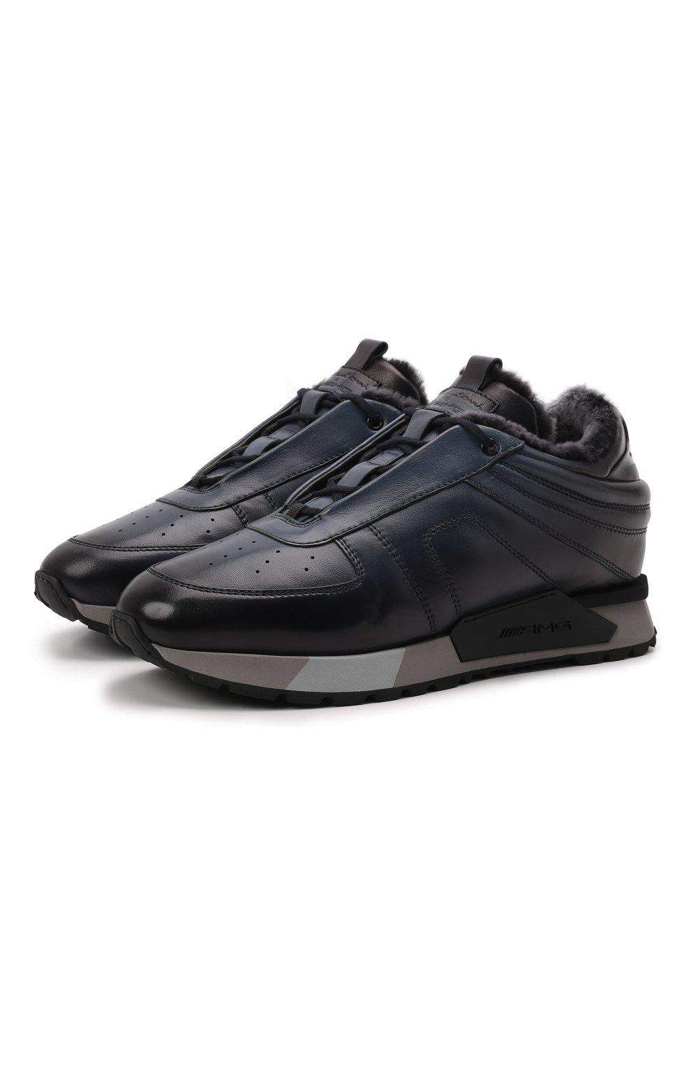 Мужские кожаные кроссовки SANTONI темно-синего цвета, арт. MSAM21414GGNPBDNU60 | Фото 1 (Материал утеплителя: Натуральный мех; Подошва: Массивная)