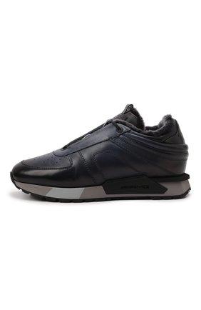 Мужские кожаные кроссовки SANTONI темно-синего цвета, арт. MSAM21414GGNPBDNU60 | Фото 3 (Материал утеплителя: Натуральный мех; Подошва: Массивная)