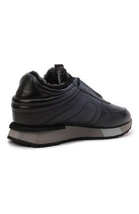 Мужские кожаные кроссовки SANTONI темно-синего цвета, арт. MSAM21414GGNPBDNU60 | Фото 4 (Материал утеплителя: Натуральный мех; Подошва: Массивная)