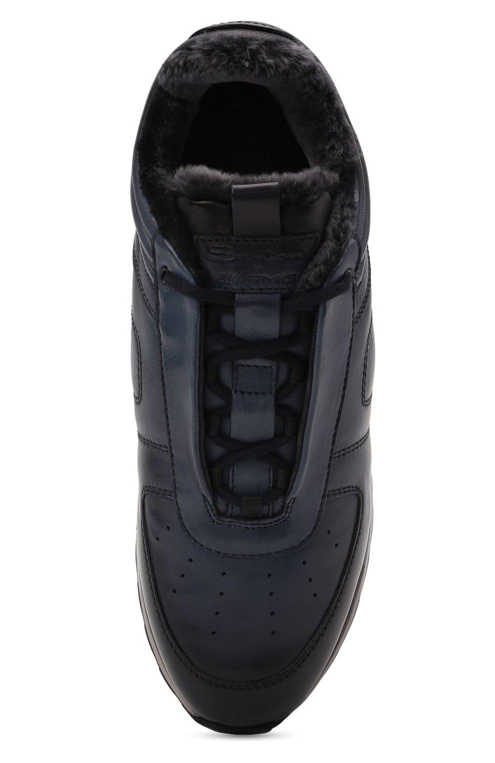 Мужские кожаные кроссовки SANTONI темно-синего цвета, арт. MSAM21414GGNPBDNU60 | Фото 5 (Материал утеплителя: Натуральный мех; Подошва: Массивная)
