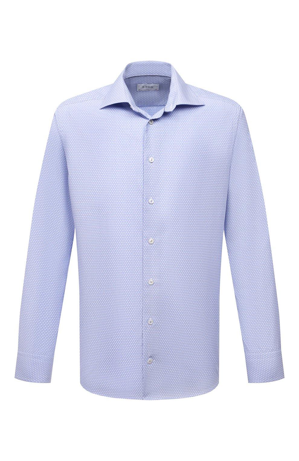 Мужская хлопковая сорочка ETON голубого цвета, арт. 1000 03084 | Фото 1 (Манжеты: На пуговицах; Рукава: Длинные; Воротник: Акула; Длина (для топов): Стандартные; Принт: С принтом; Рубашки М: Slim Fit; Материал внешний: Хлопок; Стили: Классический; Случай: Формальный)