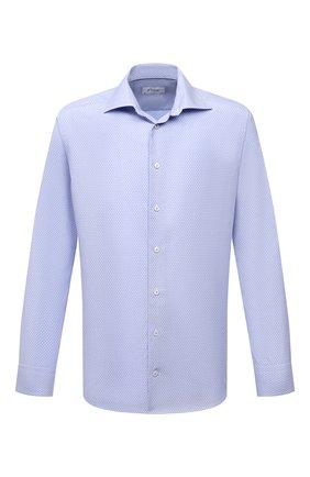 Мужская хлопковая сорочка ETON голубого цвета, арт. 1000 03084 | Фото 1 (Рукава: Длинные; Материал внешний: Хлопок; Длина (для топов): Стандартные; Случай: Формальный; Рубашки М: Slim Fit; Манжеты: На пуговицах; Принт: С принтом; Воротник: Акула; Стили: Классический)