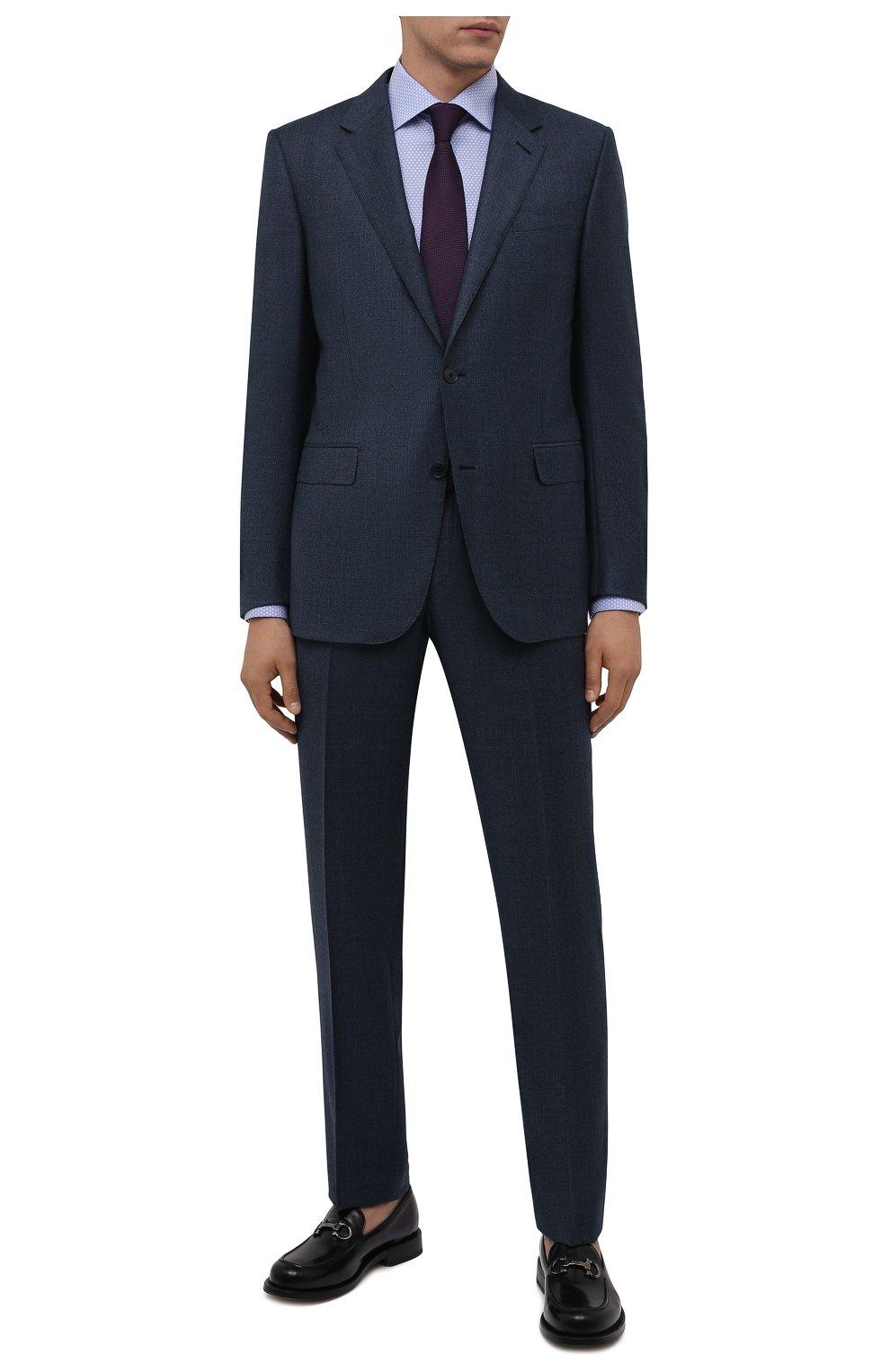 Мужская хлопковая сорочка ETON голубого цвета, арт. 1000 03084 | Фото 2 (Манжеты: На пуговицах; Рукава: Длинные; Воротник: Акула; Длина (для топов): Стандартные; Принт: С принтом; Рубашки М: Slim Fit; Материал внешний: Хлопок; Стили: Классический; Случай: Формальный)