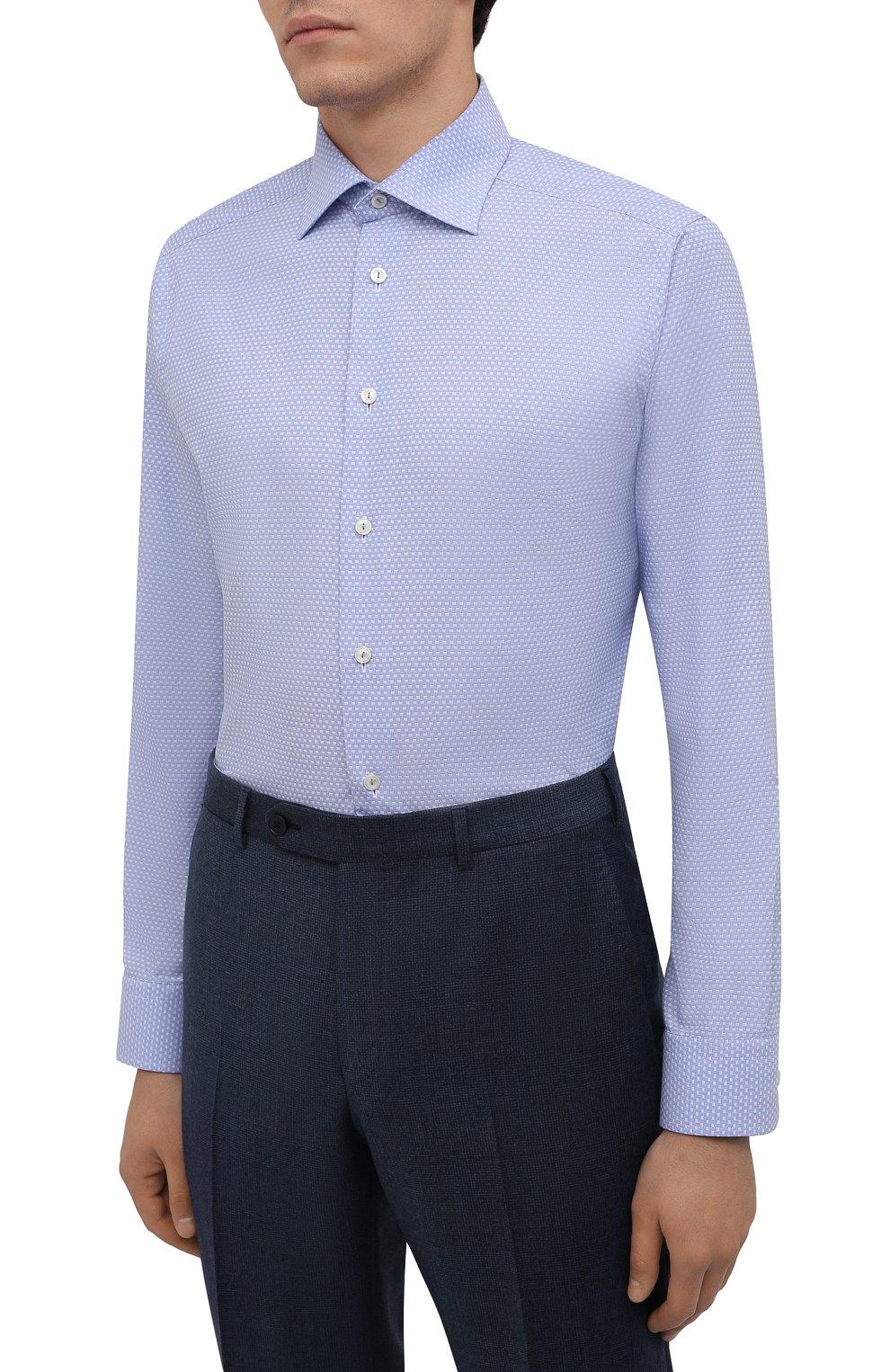 Мужская хлопковая сорочка ETON голубого цвета, арт. 1000 03084 | Фото 3 (Манжеты: На пуговицах; Рукава: Длинные; Воротник: Акула; Длина (для топов): Стандартные; Принт: С принтом; Рубашки М: Slim Fit; Материал внешний: Хлопок; Стили: Классический; Случай: Формальный)
