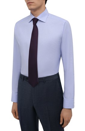 Мужская хлопковая сорочка ETON голубого цвета, арт. 1000 03084 | Фото 4 (Манжеты: На пуговицах; Рукава: Длинные; Воротник: Акула; Длина (для топов): Стандартные; Принт: С принтом; Рубашки М: Slim Fit; Материал внешний: Хлопок; Стили: Классический; Случай: Формальный)