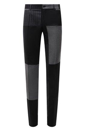 Мужские брюки из шерсти и кашемира DOLCE & GABBANA серого цвета, арт. GY7BMT/GES55   Фото 1 (Длина (брюки, джинсы): Стандартные; Материал внешний: Шерсть; Материал подклада: Вискоза; Случай: Повседневный; Стили: Кэжуэл)