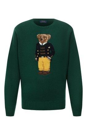 Мужской шерстяной свитер POLO RALPH LAUREN зеленого цвета, арт. 711850566/PRL BS | Фото 1 (Длина (для топов): Стандартные; Материал внешний: Шерсть; Рукава: Длинные; Мужское Кросс-КТ: Свитер-одежда; Принт: С принтом; Стили: Кэжуэл; Big sizes: Big Sizes)