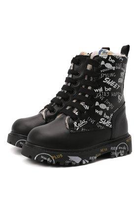 Детские кожаные ботинки PREMIATA WILL BE черно-белого цвета, арт. HI-URBAN M/M0191462/T0D   Фото 1 (Материал утеплителя: Натуральный мех)