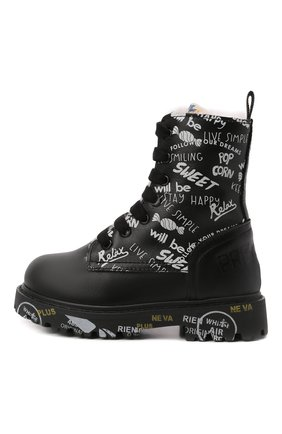 Детские кожаные ботинки PREMIATA WILL BE черно-белого цвета, арт. HI-URBAN M/M0191462/T0D   Фото 2 (Материал утеплителя: Натуральный мех)