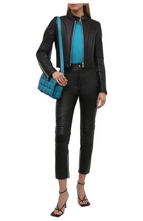 Женская кожаная куртка BOTTEGA VENETA черного цвета, арт. 667265/V15Y0   Фото 2 (Материал подклада: Вискоза; Длина (верхняя одежда): Короткие; Рукава: Длинные; Женское Кросс-КТ: Замша и кожа; Стили: Гранж)