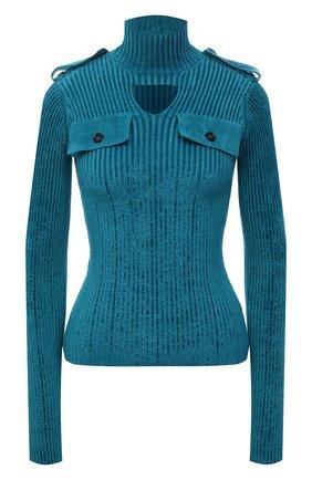 Женская водолазка BOTTEGA VENETA синего цвета, арт. 674811/V1CP0   Фото 1 (Материал внешний: Синтетический материал, Вискоза; Длина (для топов): Стандартные; Рукава: Длинные; Женское Кросс-КТ: Водолазка-одежда; Стили: Гламурный)