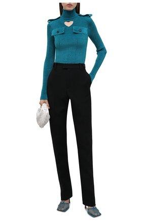 Женская водолазка BOTTEGA VENETA синего цвета, арт. 674811/V1CP0   Фото 2 (Материал внешний: Синтетический материал, Вискоза; Длина (для топов): Стандартные; Рукава: Длинные; Женское Кросс-КТ: Водолазка-одежда; Стили: Гламурный)