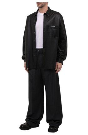 Мужские шерстяные брюки BALENCIAGA темно-серого цвета, арт. 675444/TKT30   Фото 2 (Материал внешний: Шерсть; Материал подклада: Купро; Длина (брюки, джинсы): Стандартные; Случай: Повседневный; Стили: Минимализм)