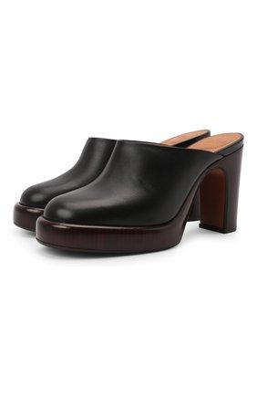Женские кожаные сабо irenn CHLOÉ черного цвета, арт. CHC21A467T0   Фото 1 (Каблук высота: Высокий; Подошва: Платформа; Материал внутренний: Натуральная кожа; Каблук тип: Устойчивый)