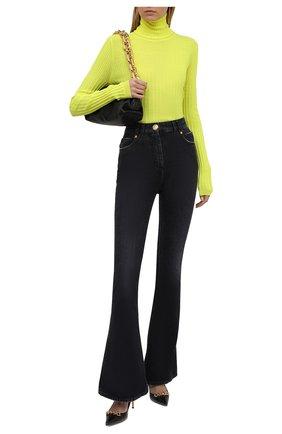 Женская шерстяная водолазка BALMAIN желтого цвета, арт. WF0KH010/K316 | Фото 2 (Рукава: Длинные; Материал внешний: Шерсть; Длина (для топов): Стандартные; Стили: Гламурный; Женское Кросс-КТ: Водолазка-одежда)