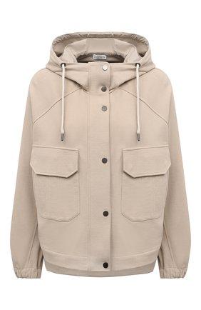 Женская хлопковая куртка BRUNELLO CUCINELLI бежевого цвета, арт. MN05NSF906 | Фото 1 (Материал внешний: Хлопок; Рукава: Длинные; Стили: Кэжуэл; Длина (верхняя одежда): Короткие; Кросс-КТ: Куртка)