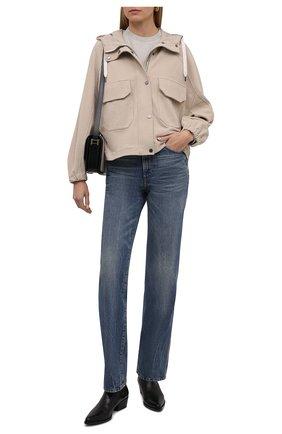 Женская хлопковая куртка BRUNELLO CUCINELLI бежевого цвета, арт. MN05NSF906 | Фото 2 (Материал внешний: Хлопок; Рукава: Длинные; Стили: Кэжуэл; Длина (верхняя одежда): Короткие; Кросс-КТ: Куртка)