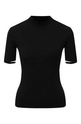 Женский пуловер JACQUEMUS черного цвета, арт. 213KN507-2010   Фото 1 (Материал внешний: Синтетический материал, Вискоза; Длина (для топов): Стандартные; Рукава: Короткие; Стили: Минимализм; Женское Кросс-КТ: Пуловер-одежда)