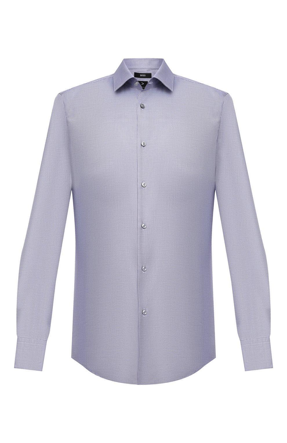 Мужская хлопковая сорочка BOSS голубого цвета, арт. 50460786   Фото 1 (Манжеты: На пуговицах; Воротник: Кент; Рукава: Длинные; Длина (для топов): Стандартные; Принт: С принтом; Рубашки М: Slim Fit; Материал внешний: Хлопок; Стили: Классический; Случай: Формальный)