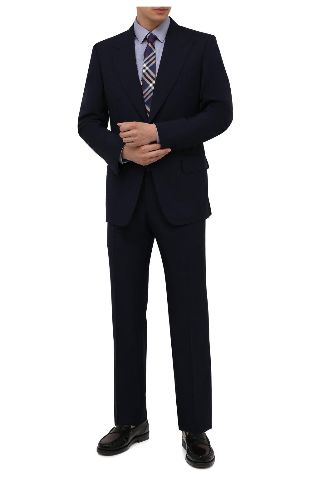 Мужская хлопковая сорочка BOSS голубого цвета, арт. 50460786   Фото 2 (Манжеты: На пуговицах; Воротник: Кент; Рукава: Длинные; Длина (для топов): Стандартные; Принт: С принтом; Рубашки М: Slim Fit; Материал внешний: Хлопок; Стили: Классический; Случай: Формальный)