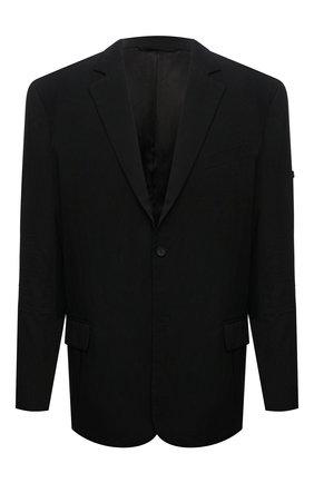 Мужской пиджак из вискозы BALENCIAGA черного цвета, арт. 674430/TJ025 | Фото 1 (Материал внешний: Вискоза; Рукава: Длинные; Материал подклада: Купро; Длина (для топов): Стандартные; 1-2-бортные: Однобортные; Пиджаки М: Свободный; Случай: Повседневный; Стили: Минимализм)