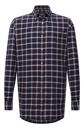 Мужская хлопковая рубашка PAUL&SHARK темно-синего цвета, арт. 11313115/C00 | Фото 1 (Материал внешний: Хлопок; Длина (для топов): Удлиненные; Рукава: Длинные; Случай: Повседневный; Принт: Клетка; Рубашки М: Classic Fit; Манжеты: На пуговицах; Воротник: Button down; Стили: Кэжуэл)