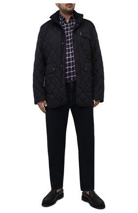 Мужская хлопковая рубашка PAUL&SHARK темно-синего цвета, арт. 11313115/C00 | Фото 2 (Материал внешний: Хлопок; Длина (для топов): Удлиненные; Рукава: Длинные; Случай: Повседневный; Принт: Клетка; Рубашки М: Classic Fit; Манжеты: На пуговицах; Воротник: Button down; Стили: Кэжуэл)