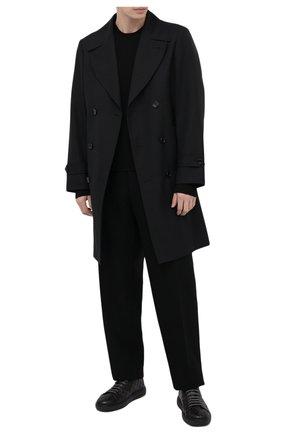 Мужские кожаные кеды SANTONI темно-серого цвета, арт. MBCD21546NEARESLG62   Фото 2 (Материал внутренний: Натуральная кожа; Подошва: Массивная)