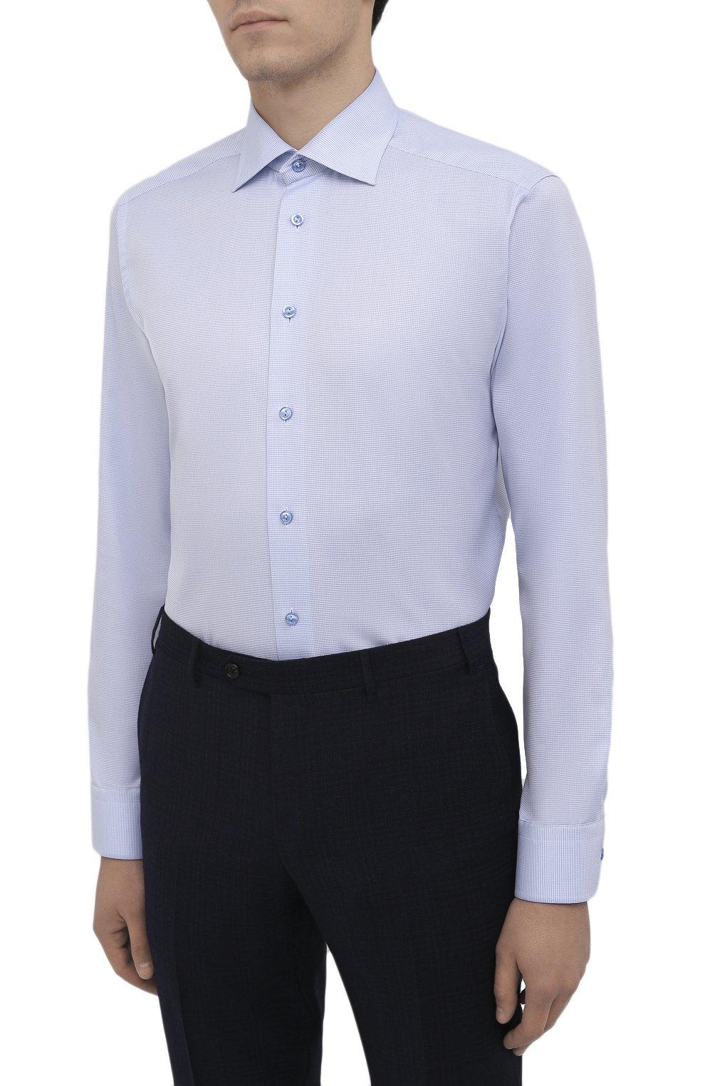 Мужская хлопковая сорочка ETON голубого цвета, арт. 1000 01652 | Фото 3 (Манжеты: На пуговицах; Принт: Клетка; Рукава: Длинные; Воротник: Акула; Длина (для топов): Стандартные; Рубашки М: Slim Fit; Материал внешний: Хлопок; Стили: Классический; Случай: Формальный)