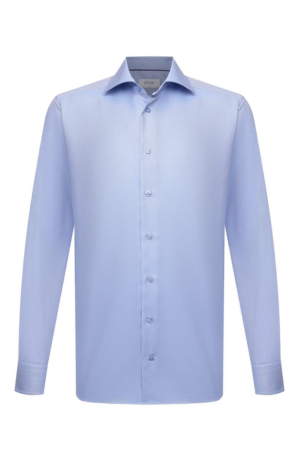 Мужская хлопковая сорочка ETON голубого цвета, арт. 1000 02346   Фото 1 (Манжеты: На пуговицах; Рукава: Длинные; Воротник: Акула; Длина (для топов): Стандартные; Принт: С принтом; Рубашки М: Slim Fit; Материал внешний: Хлопок; Стили: Классический; Случай: Формальный)