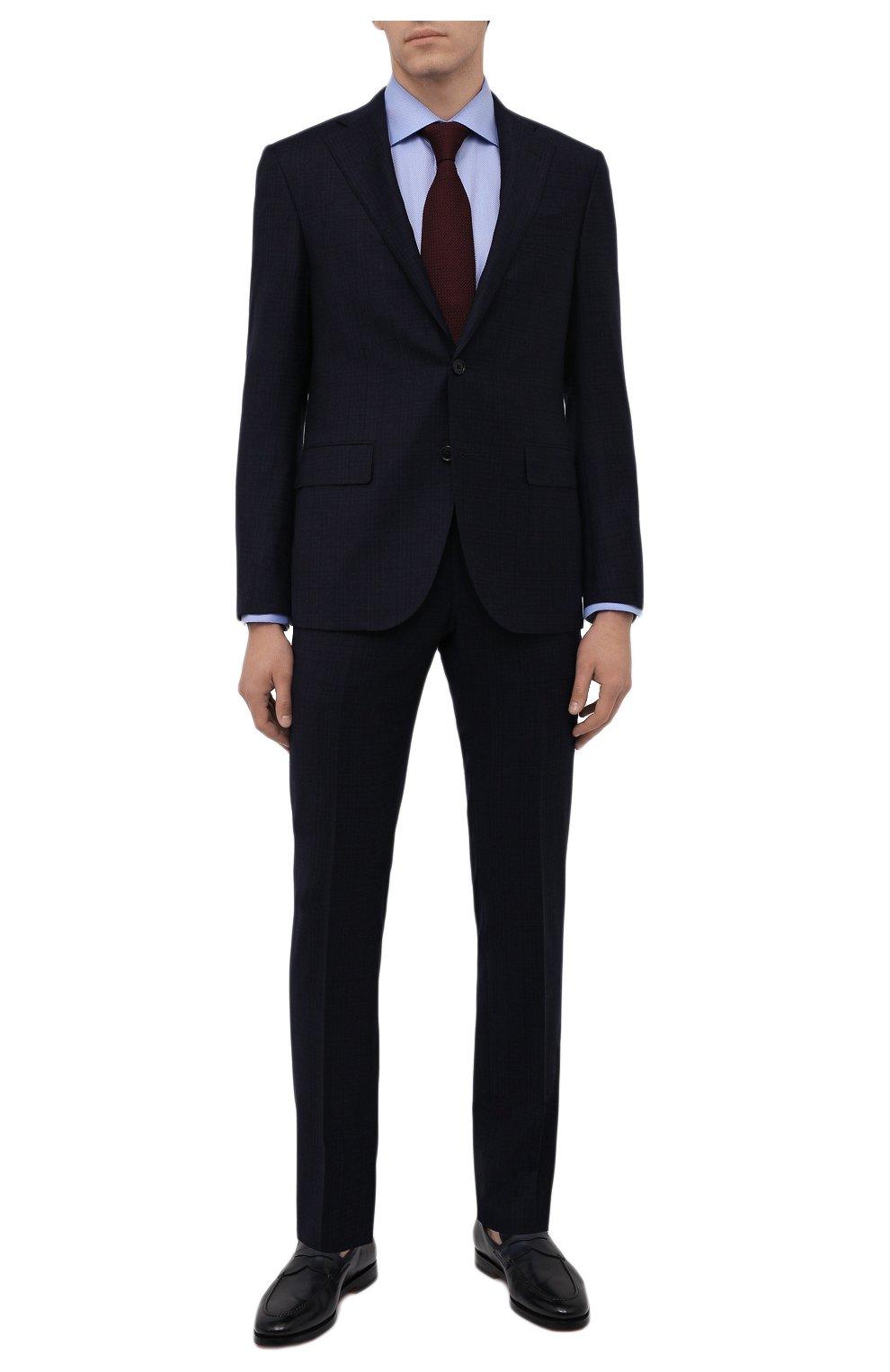 Мужская хлопковая сорочка ETON голубого цвета, арт. 1000 02346   Фото 2 (Манжеты: На пуговицах; Рукава: Длинные; Воротник: Акула; Длина (для топов): Стандартные; Принт: С принтом; Рубашки М: Slim Fit; Материал внешний: Хлопок; Стили: Классический; Случай: Формальный)