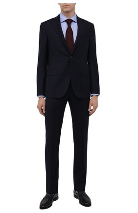 Мужская хлопковая сорочка ETON голубого цвета, арт. 1000 02346 | Фото 2 (Материал внешний: Хлопок; Рукава: Длинные; Случай: Формальный; Рубашки М: Slim Fit; Манжеты: На пуговицах; Воротник: Акула; Стили: Классический; Принт: С принтом)