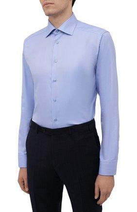 Мужская хлопковая сорочка ETON голубого цвета, арт. 1000 02346   Фото 3 (Манжеты: На пуговицах; Рукава: Длинные; Воротник: Акула; Длина (для топов): Стандартные; Принт: С принтом; Рубашки М: Slim Fit; Материал внешний: Хлопок; Стили: Классический; Случай: Формальный)