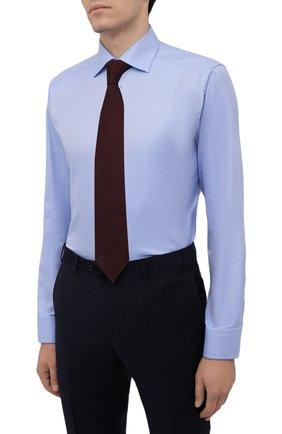 Мужская хлопковая сорочка ETON голубого цвета, арт. 1000 02346   Фото 4 (Манжеты: На пуговицах; Рукава: Длинные; Воротник: Акула; Длина (для топов): Стандартные; Принт: С принтом; Рубашки М: Slim Fit; Материал внешний: Хлопок; Стили: Классический; Случай: Формальный)