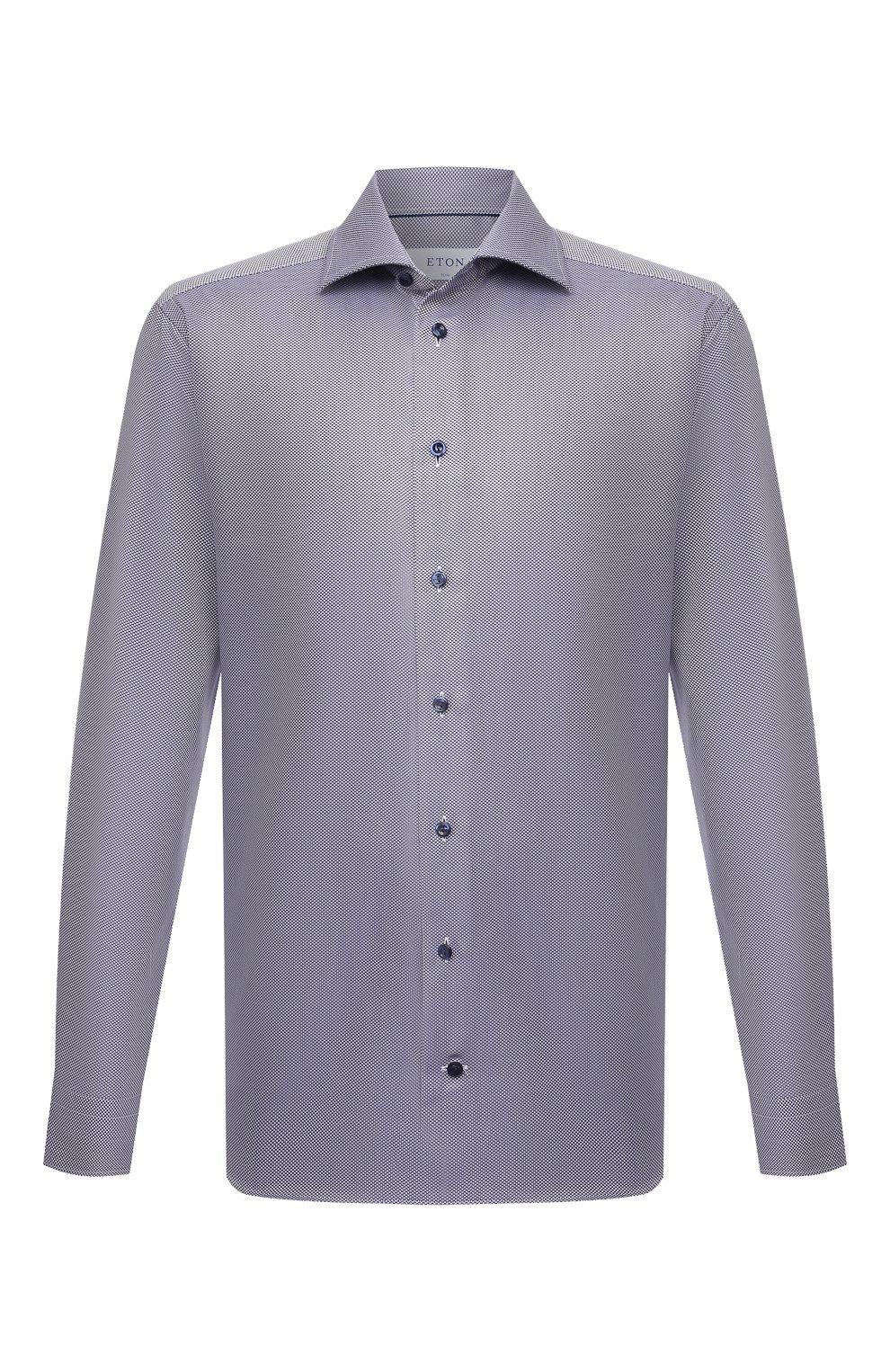 Мужская хлопковая сорочка ETON темно-синего цвета, арт. 1000 02346 | Фото 1 (Манжеты: На пуговицах; Рукава: Длинные; Воротник: Акула; Длина (для топов): Стандартные; Принт: С принтом; Рубашки М: Slim Fit; Материал внешний: Хлопок; Стили: Классический; Случай: Формальный)