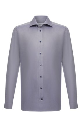 Мужская хлопковая сорочка ETON темно-синего цвета, арт. 1000 02346 | Фото 1 (Материал внешний: Хлопок; Рукава: Длинные; Случай: Формальный; Рубашки М: Slim Fit; Манжеты: На пуговицах; Воротник: Акула; Стили: Классический; Принт: С принтом)