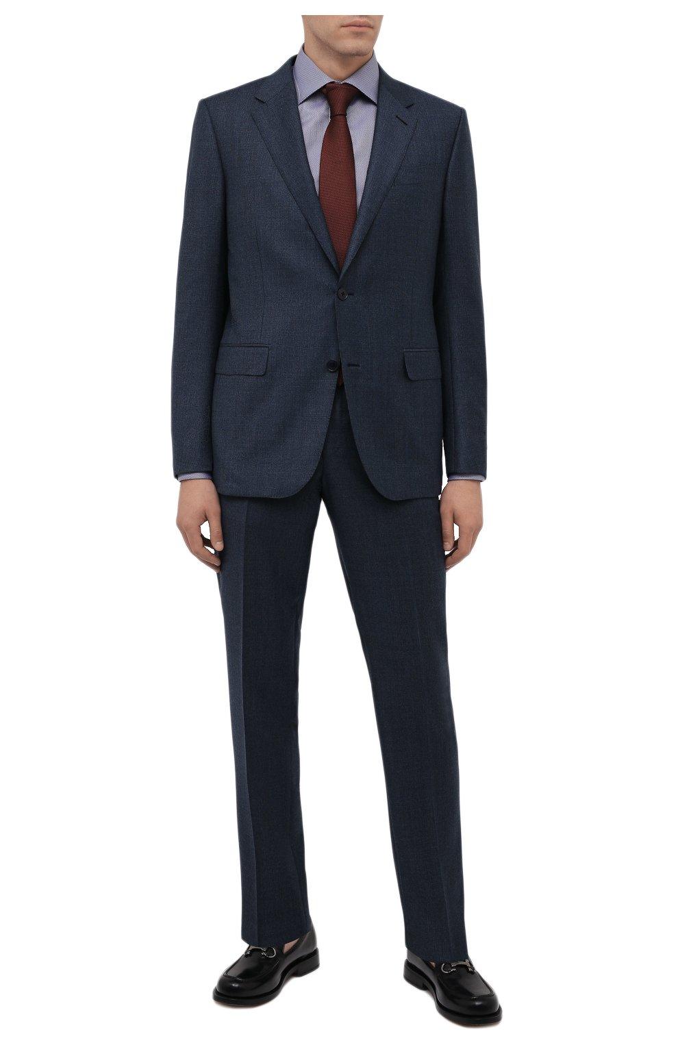 Мужская хлопковая сорочка ETON темно-синего цвета, арт. 1000 02346 | Фото 2 (Манжеты: На пуговицах; Рукава: Длинные; Воротник: Акула; Длина (для топов): Стандартные; Принт: С принтом; Рубашки М: Slim Fit; Материал внешний: Хлопок; Стили: Классический; Случай: Формальный)