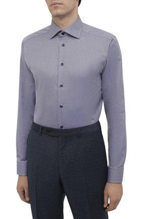 Мужская хлопковая сорочка ETON темно-синего цвета, арт. 1000 02346 | Фото 3 (Манжеты: На пуговицах; Рукава: Длинные; Воротник: Акула; Длина (для топов): Стандартные; Принт: С принтом; Рубашки М: Slim Fit; Материал внешний: Хлопок; Стили: Классический; Случай: Формальный)