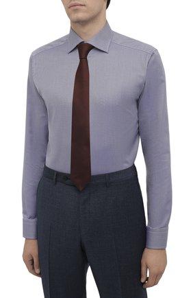 Мужская хлопковая сорочка ETON темно-синего цвета, арт. 1000 02346 | Фото 4 (Манжеты: На пуговицах; Рукава: Длинные; Воротник: Акула; Длина (для топов): Стандартные; Принт: С принтом; Рубашки М: Slim Fit; Материал внешний: Хлопок; Стили: Классический; Случай: Формальный)