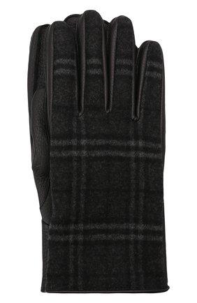 Мужские комбинированные перчатки BURBERRY темно-серого цвета, арт. 8046079 | Фото 1 (Материал: Шерсть; Мужское Кросс-КТ: Кожа и замша)