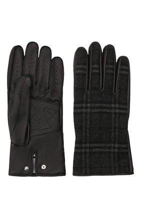 Мужские комбинированные перчатки BURBERRY темно-серого цвета, арт. 8046079 | Фото 2 (Материал: Шерсть; Мужское Кросс-КТ: Кожа и замша)