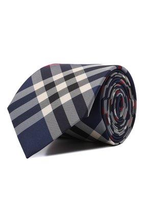 Мужской шелковый галстук BURBERRY темно-синего цвета, арт. 8002113   Фото 1 (Материал: Текстиль, Шелк; Принт: С принтом)