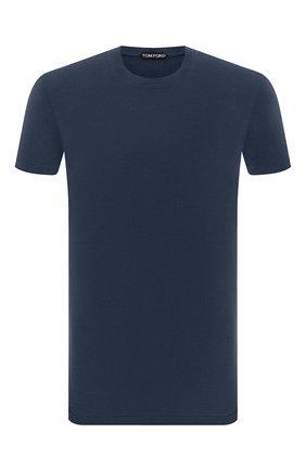 Мужская футболка TOM FORD синего цвета, арт. BY229/TFJ950 | Фото 1 (Материал внешний: Лиоцелл, Хлопок; Рукава: Короткие; Принт: Без принта; Стили: Кэжуэл)