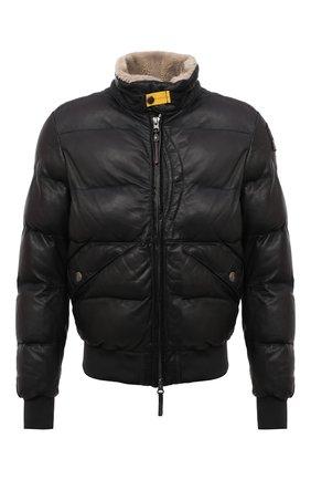 Мужской кожаный бомбер PARAJUMPERS темно-серого цвета, арт. LE03/ALF LEATHER   Фото 1 (Рукава: Длинные; Длина (верхняя одежда): Короткие; Материал подклада: Синтетический материал; Кросс-КТ: Куртка; Мужское Кросс-КТ: Кожа и замша, пуховик-короткий; Принт: Без принта; Стили: Кэжуэл)